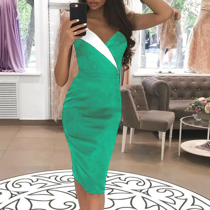 2019 Women Sleeveless Bodycon V Neck Dress Summer Casual Evening Party Dresses in Dresses from Women 39 s Clothing