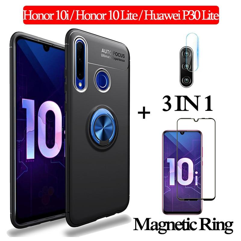 3-in-1 Glas + Magnetische Silikon hülle Honor 10i 10Lite Weiche telefon hülle huawei p30lite Volle Abdeckung honor 10i magnetische ring case
