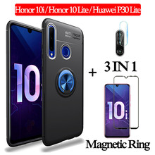 3-in-1 Glass + Magnetic Silicone Case for Honor10i 10Lite Soft phone huawei p30lite Full Cover honor 10i magnetic ring