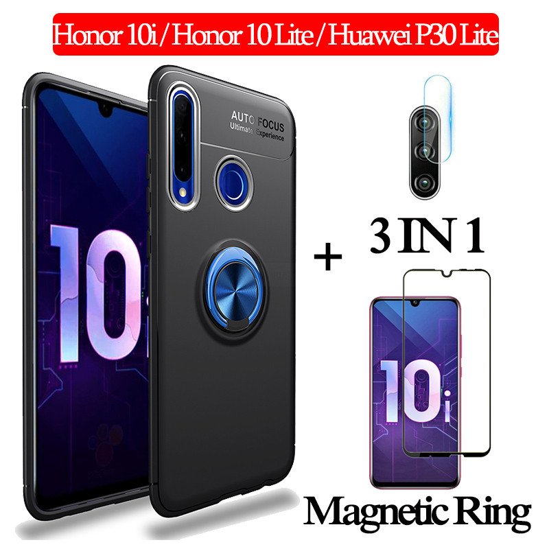 3-in-1 Glass + Magnetic Silicone <font><b>Case</b></font> for Honor10i 10Lite Soft phone <font><b>Case</b></font> huawei p30lite Full Cover <font><b>honor</b></font> <font><b>10i</b></font> magnetic ring <font><b>Case</b></font> image