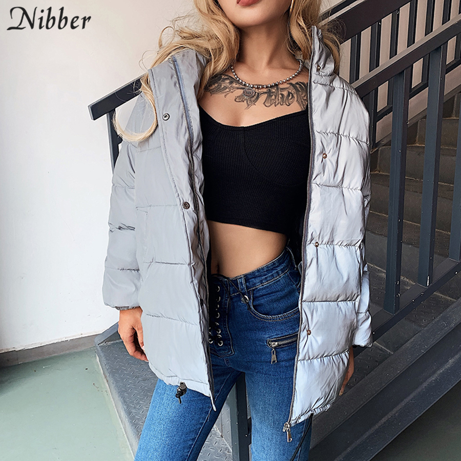Nibber Winter Fashion Reflective Warm Long Coat Womens Top Jacket2019 Club Party Shining Loose Outerwear Mujer Spring Parka Coat