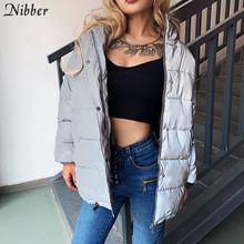 Nibber Hiver Mode Réfléchissant Chaud long Manteau Femmes top Jacket2019 club fête Brillant vêtements coupe large mujer printemps Parka Manteau(China)