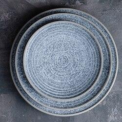 Pojedyncze talerze ceramiczne KINGLANG oryginalne zaprojektowane wygląda jak kamień duże płytki talerz Sallow salaterka