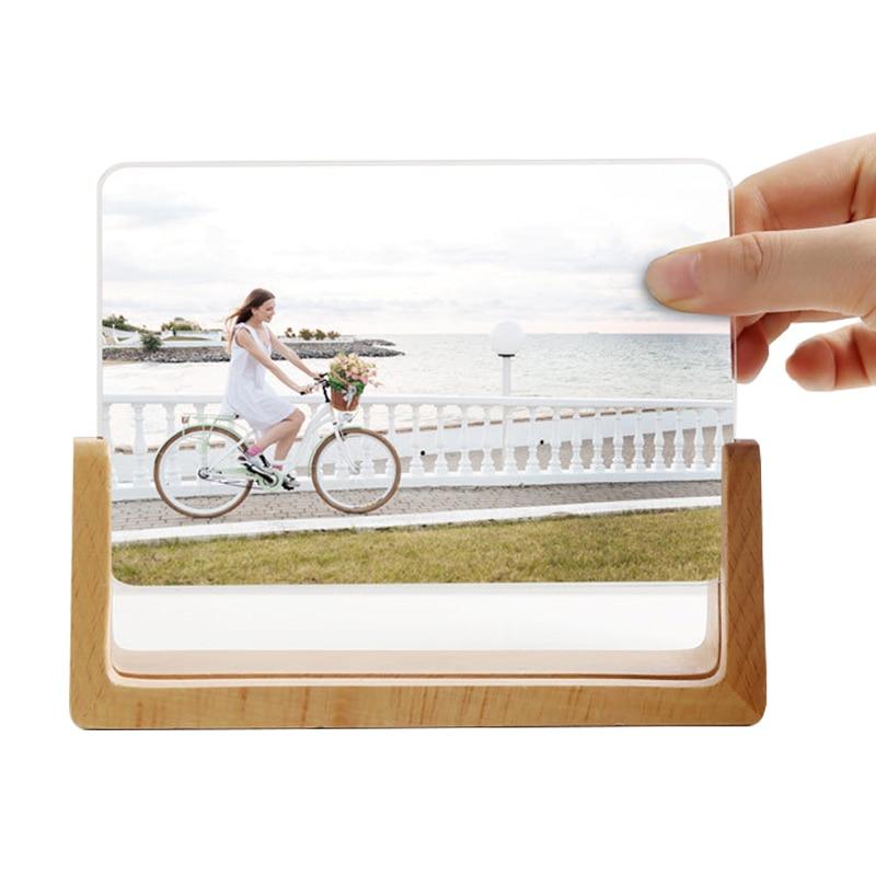 Creative European Solid Wooden Photo Frame Innovative 6 Inch 7 Inch Acrylic U Shaped Photo Holder Frame Home Desk Decoration