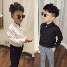 Casual Boys Shirts White Long Sleeve Tops for Teenage School Boy Cotton Turn-down Collar Black Shirt Toddler Baby Bottom Clothes