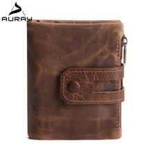 AURAY Crazy Horse Vintage Men Genuine Leather Wallet Mens Wallets Luxury Short Zipper Card Holder Wallet Male Coin Money Purse
