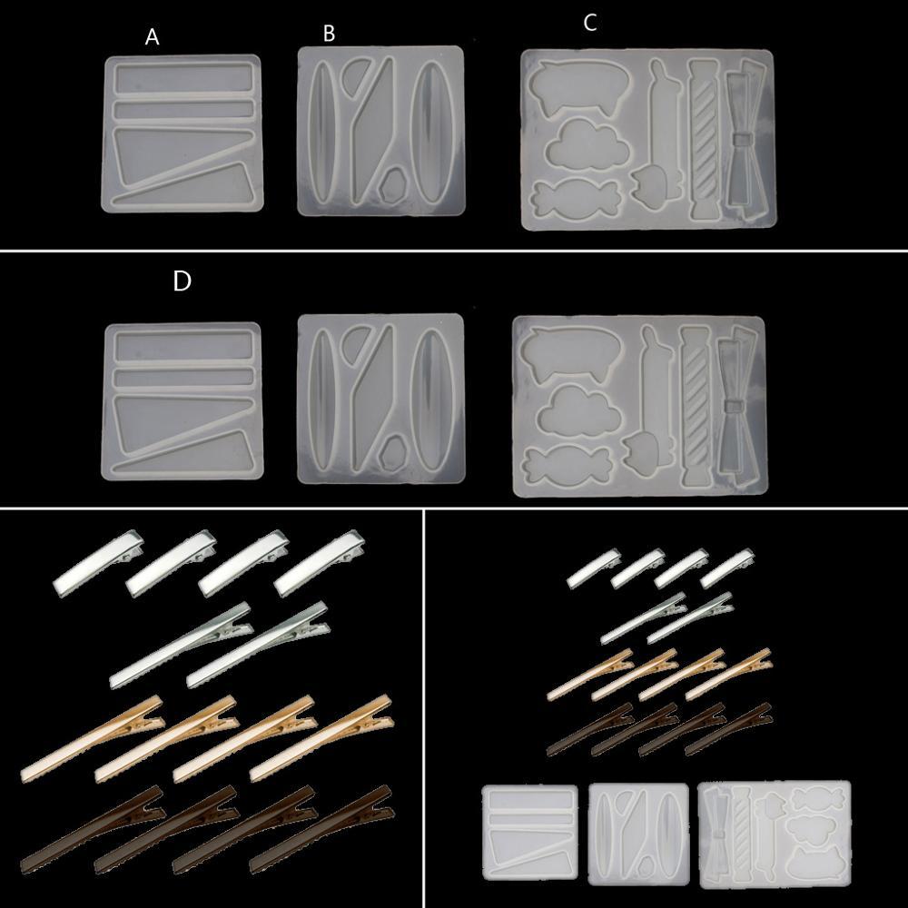 Handmade Acrylic Resin Hair Barrettes Resin Mold Geometric Shape  Alligator Hair Clips UV Epoxy Resin Mold Jewelry Tools