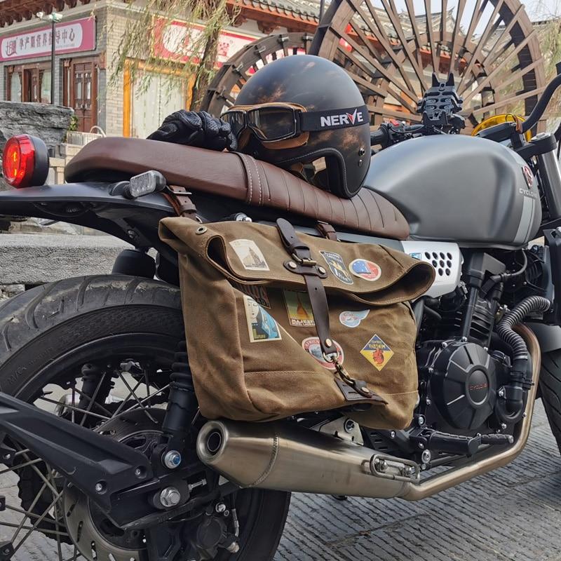 Waterproof Wax Canvas Bag Retro Messenger Bag Casual Motorcycle Men's Shoulder Bag Locomotive Men's Side Package Poor Package
