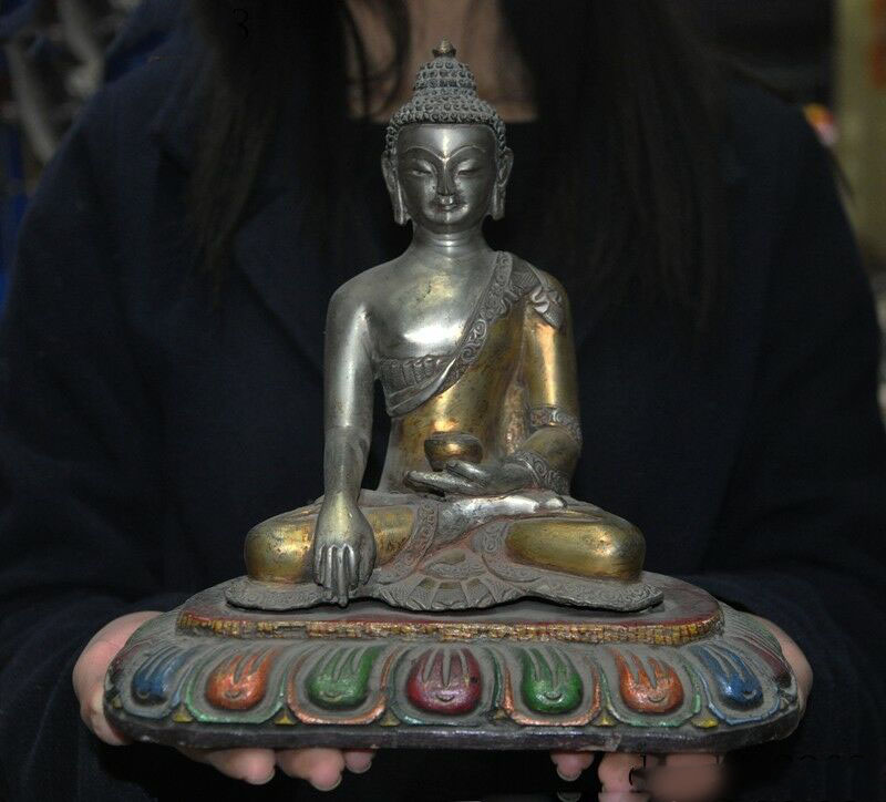 Wedding Decoration Tibet Buddhism Wood Base Silver Gilt Shakyamuni Sakyamuni Medicine Buddha Statue