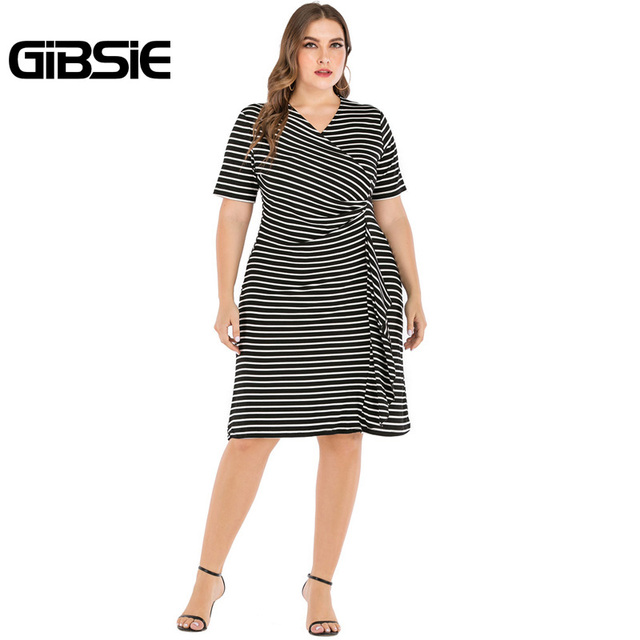 GIBSIE Plus Size V-Neck Short Sleeve Striped Ruffles Midi Dress Women Summer Casual OL High Waist Female Slim Bodycon Dresses