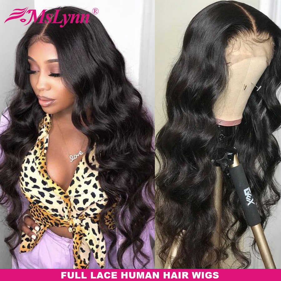 Pre Plucked Full Lace Human Hair Wigs Body Wave Wig Full Lace Wigs Human Hair With Baby Hair Wigs For Women Mslynn Remy Hair