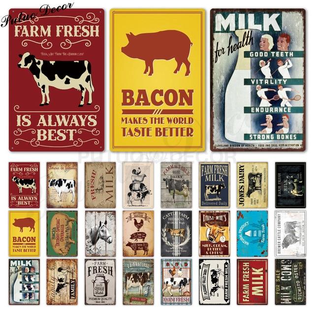 Фермерский оловянный знак молоко винтажный металлический знак табличка металлический винтажный дом Настенный декор корова свинья ретро м...