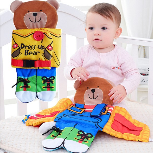 Baby Book Toys Cloth Book Baby Toys For Boys Girls Development Tie The Shoe Bear Design Multi-Function SZ52