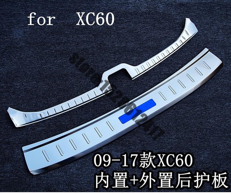 Стайлинг автомобиля, протектор для внутреннего и внешнего заднего бампера из нержавеющей стали, Накладка для протектора багажника VOLVO XC60 ...