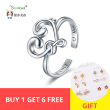 Strollgirl 100% 925 Sterling Silver Musical symbol Ring Adjustable Opening Inspiring Gift For Music lovers Valentines