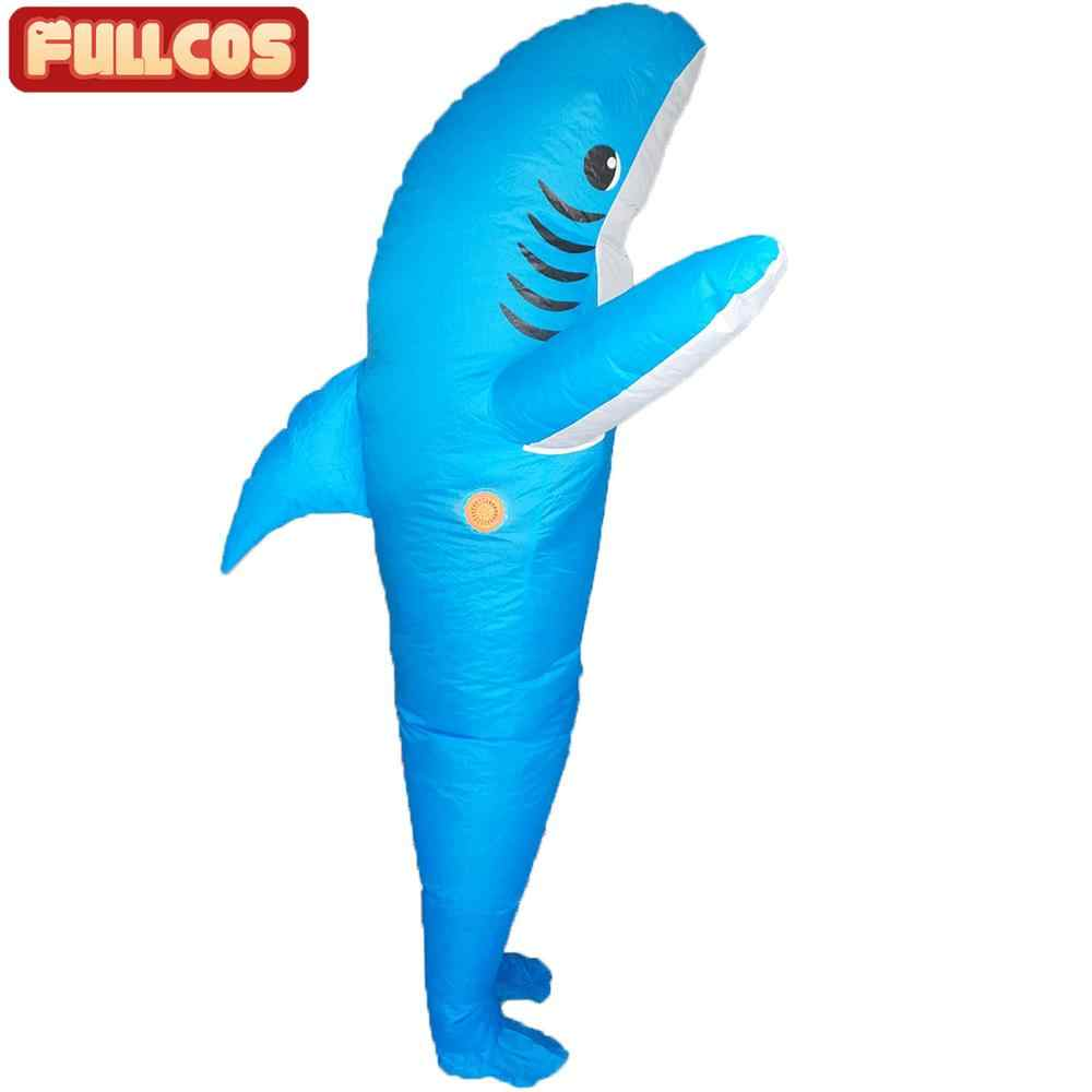 Adults Inflatable Blue Shark Blow Up Fancy Dress Party Halloween Costume Cosplay