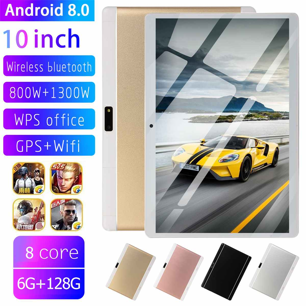 6+128GB 9000mAh 10.1 Inch HD Tablet PC Dual Cameras/SIMs Octa Cores 3G Call Tab GPS WIFi Bluetooth 4.0 Pad Android 8.0 Tab
