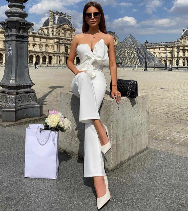 Luxe High Street Zomer Mode Sexy Strapless Backless Wit Zwart Vrouwen Jumpsuit 2020 Celebrity Designer Fashion Rompertjes
