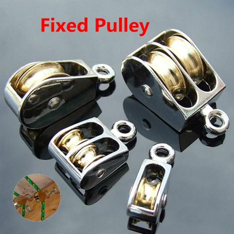 1pcs 36/52/75mm Single And Double Fixed Pulley Zinc Alloy Fixed Swivel Pulley Rope Lifting Wheel Outdoor Climbing Accessories
