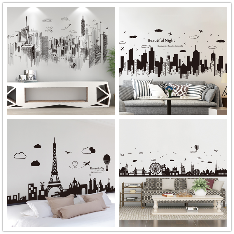 [shijuekongjian] Black Buildings Wall Decals Vinyl DIY European Style Home Decor Sticker For Living Room Bedroom Decoration