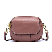 Genuine leather women small crossbody bag strap flap zipper