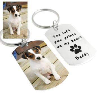 Custom  Dog Photo Keychain Dog Tag Keyring∙ Personalized Dog Key chain Personalized Pet Lover Gift  Pet Memorial Gift custom dog tag photo keychain stainless steel engraved photograph text diy key chain for love dog keepsake