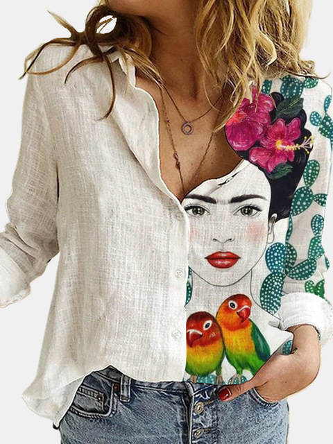 Cotton Polyester White Stitching Portrait Floral Print Shirt Turn-Down Long Sleeve Top Lady Office Button Plus Size Casual Blusa