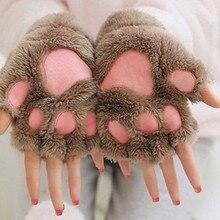 2019 Winter Lovely Women Bear Cat Claw Paw Mitten Plush Gloves Short Finger Half Ladies Cover Female