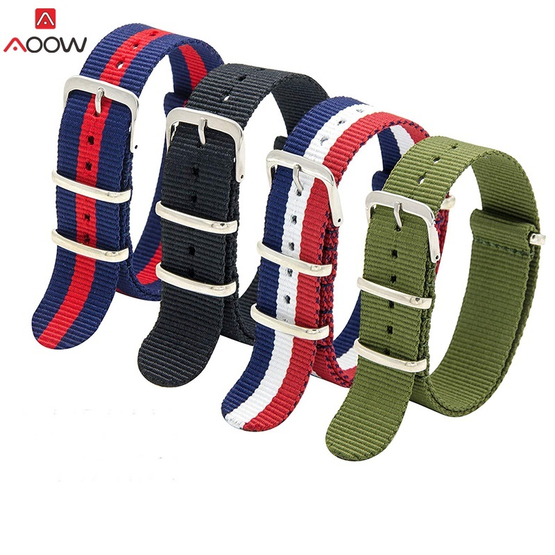 AOOW Nylon NATO Watchband Heavy Duty Nylon Canvas Strap 18mm 20mm 22mm Striped Fashion Replacement Watch Band Top Quality