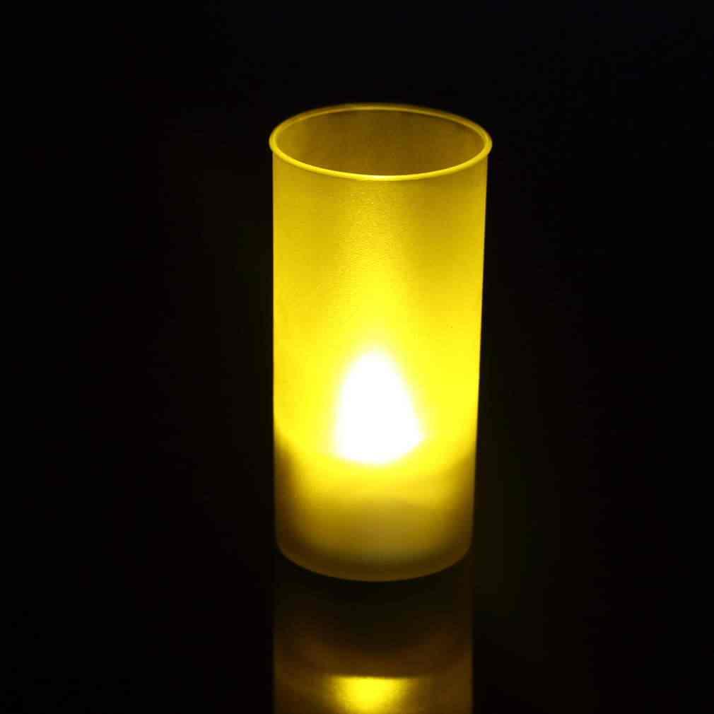 1 PC Schütteln Sound Romantische Flammenlose Schlag Sensor LED Kerze Tee Licht Halbtransparente Tasse LED Kerze Licht neue ankunft