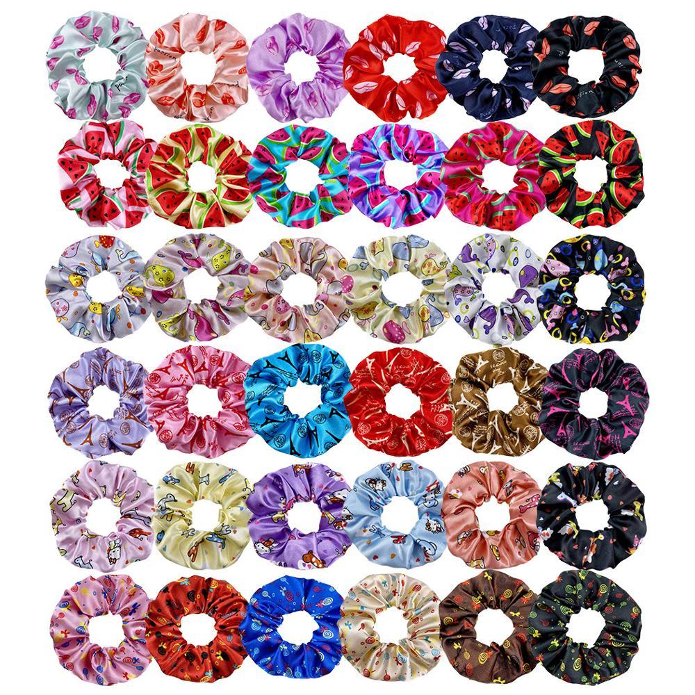 Hair Accessories Print Hair Ring Scrunchies For Women Girls Ponytail Holder Scrunchy Hair Rope Large Intestine Headwear