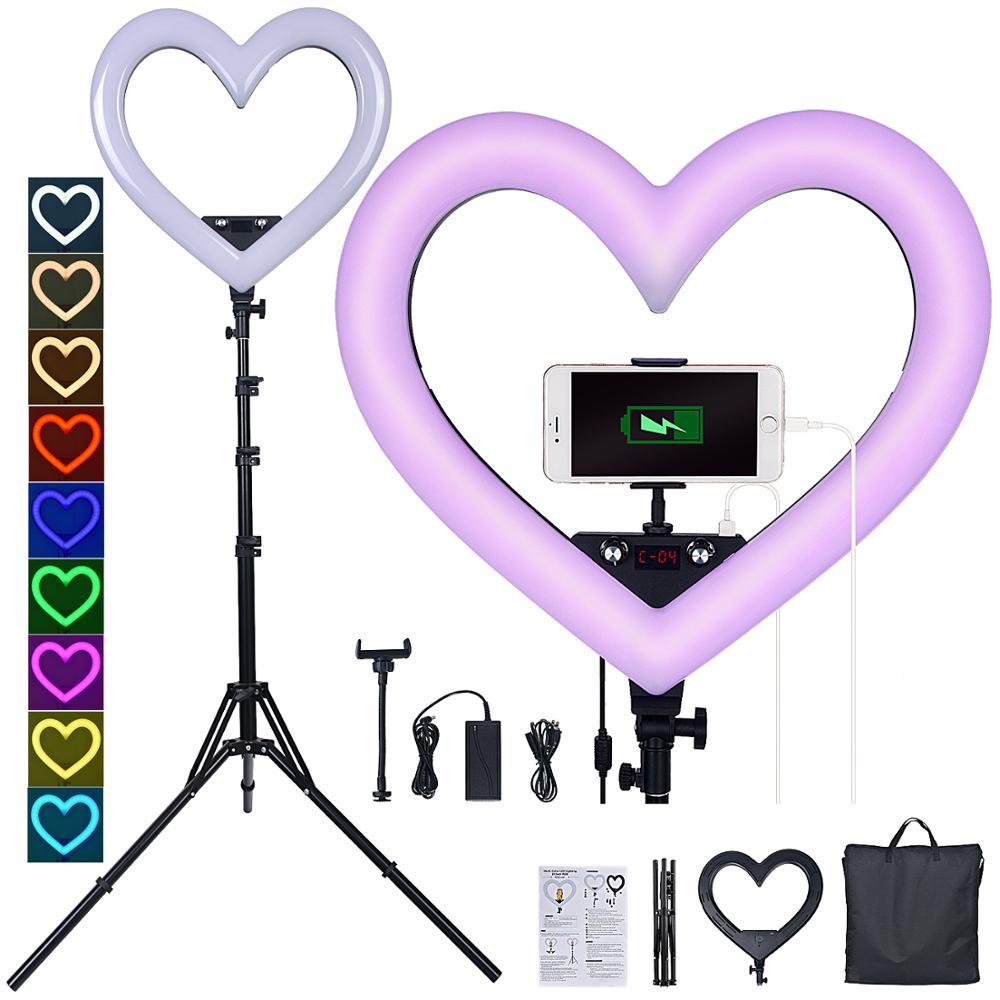 Fosoto led rgb luz hearted-forma iluminação fotográfica 3200 k-5600 k lâmpada com tripé e porta usb para maquiagem de câmera de vídeo telefone