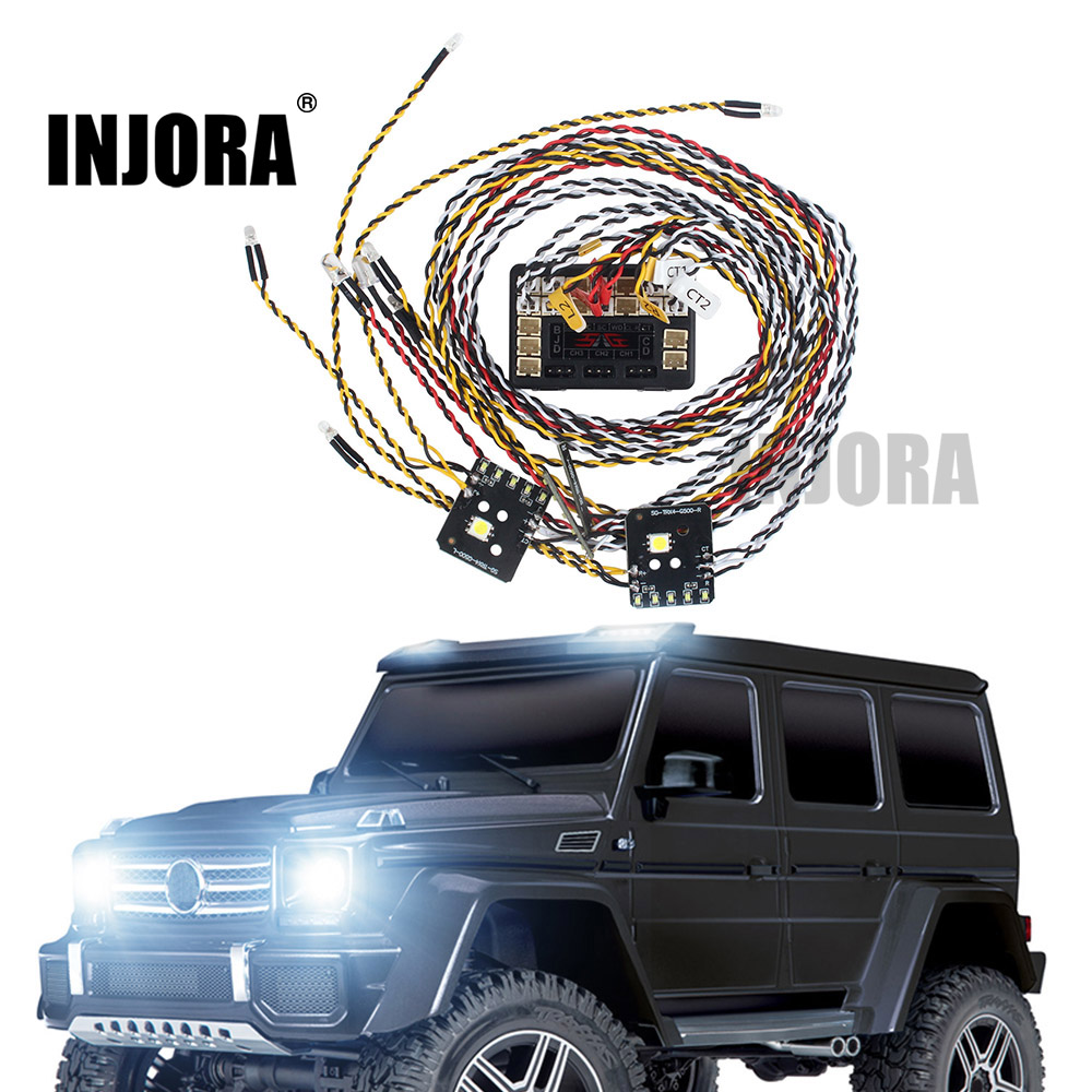 INJORA Front Rear Lamp Group LED Light System Set For 1/10 RC Car Traxxas TRX4 G500 TRX-4 82096-4