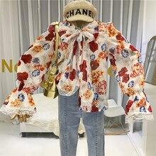 купить Floral Blouse Women Flare Sleeve Bohemian Lace Womens Shirts Blusas Femininas Elegante Bow Tie Clothes Womens Tops and Blouses по цене 1623.07 рублей