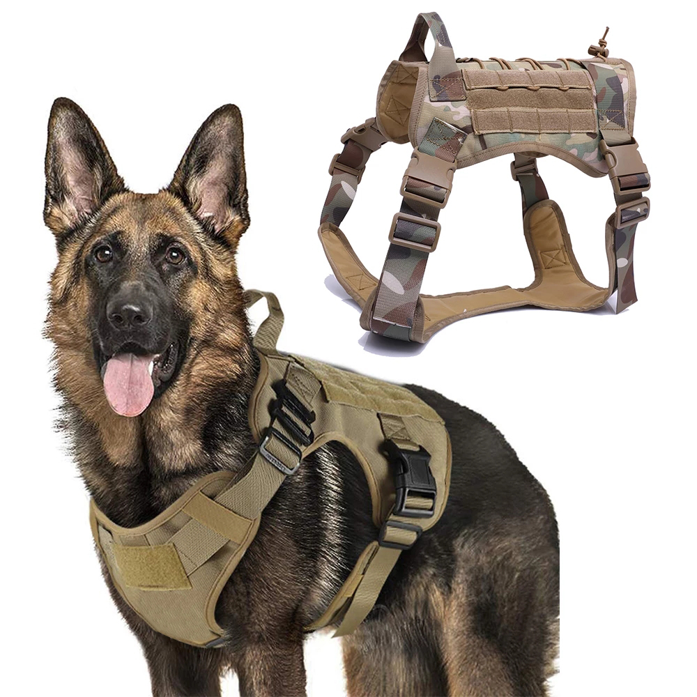 Military Tactical Dog Harness Front Clip Law Enforcement K9 Working Pet Dog Durable Vest For Small Large Dogs German Shepherd