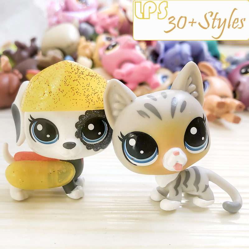 FGHGF LPS Pet Shop Collection Figure Collie Dog Cat Squirrel Ribbat Animals Loose Cute Kid Toys Figure Gift Y19103101