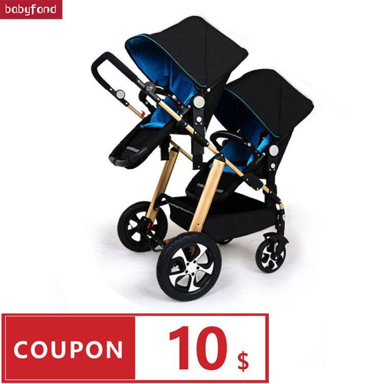 RU Бесплатная доставка! Детская коляска для близнецов, черный светильник, многофункциональная двойная детская коляска из алюминиевого спла...