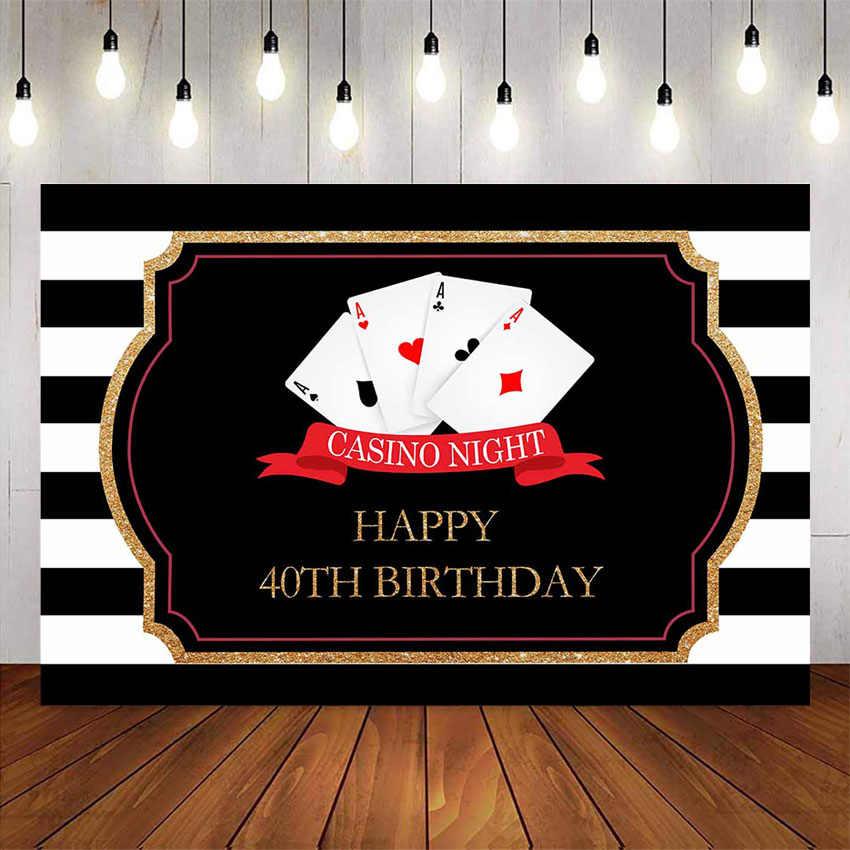 Kasyno noc z okazji urodzin tło białe i czarne paski tło poker materiały do dekoracji przyjęcia urodzinowego niestandardowe