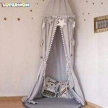 Детская Штора для кровати, хлопок, украшение для детской комнаты, сетка для кроватки, детская палатка, хлопковый висящий купол, детская москитная сетка, реквизит для фотосессии
