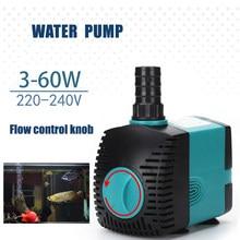 220V-240V akwarium zatapialne pompa wodna fontanna filtr staw rybny ultra-cicha pompa wodna zbiornik fontanna 3-60W