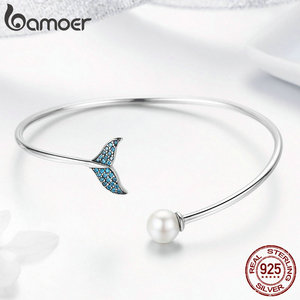 Image 4 - BAMOER pulsera de plata de ley 100% Plata de Ley 925 con cola de sirena azul, brazalete con perlas, joyería de plata delicada SCB123