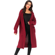 Fashion Long Cardigan Women Loose Knit Sweaters Full Sleeve Pockets Solid Autumn Winter Open Stitch Oversized Jacket Coat 2019 pockets knit open front cardigan