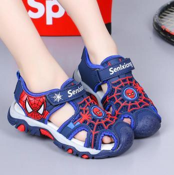 Disney letnie dziecięce sandały zamknięte toe maluch chłopcy spiderman sandały ortopedyczne sportowe pu skórzane chłopięce plażowe sandały tanie i dobre opinie RUBBER 25-36m 3-6y 7-12y CN (pochodzenie) Lato Mężczyzna Miękka skóra Płaskie obcasy Hook loop Dobrze pasuje do rozmiaru wybierz swój normalny rozmiar