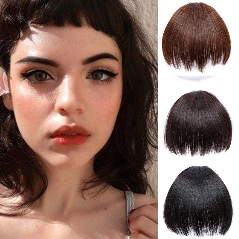 LUPU Short Fake Hair Bangs Clip In Hair Extensions Heat Resistant Synthetic Blunt Bangs Hairpieces For Women Headwear