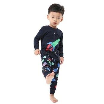 100 Cotton Boys and Girls Long Sleeve Pajamas Sets Children's Sleepwear Kids Christmas Pijamas Infantil Homewear Nightwear - PA06, 3T