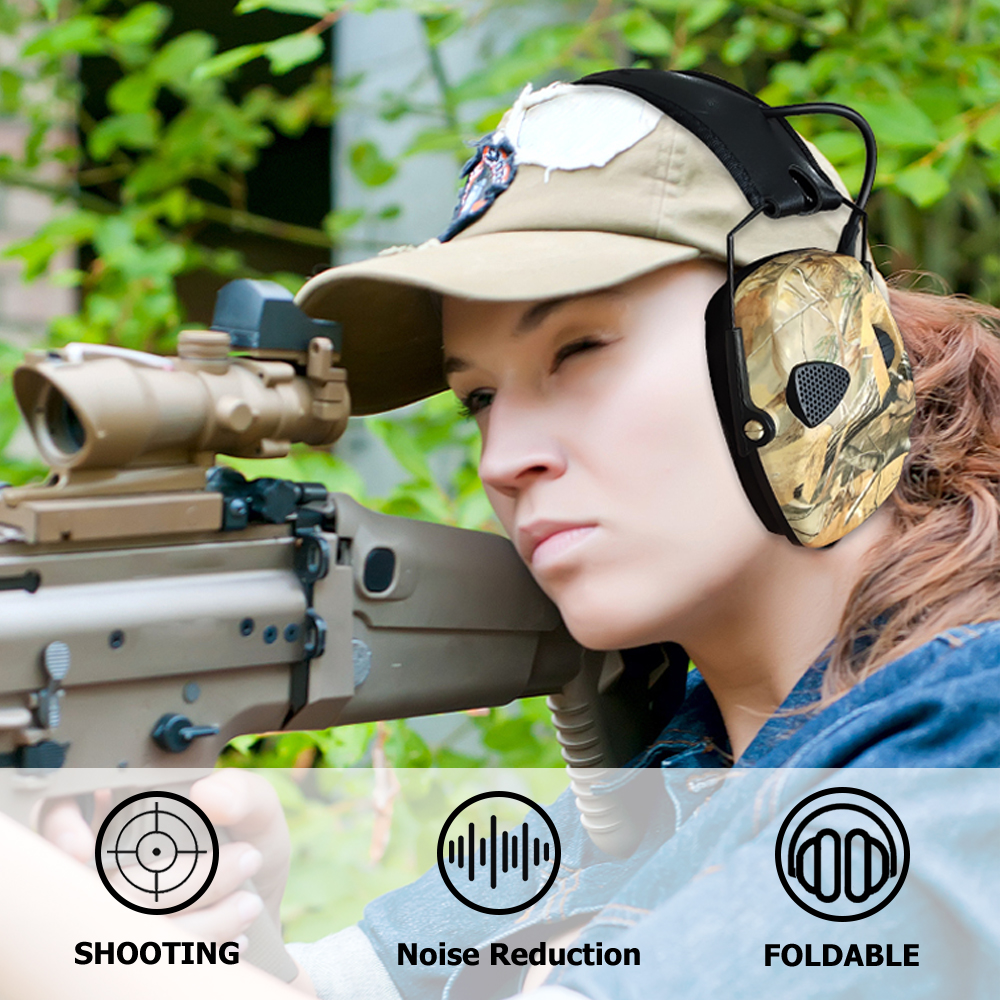 Купить с кэшбэком ZOHAN Tactical Electronic Earmuff for Hunting shooting headphones Noise reduction Hearing Protective Ear Protection NRR 22db