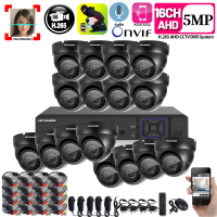 16CH 5MP 6in1 CCTV H.265 DVR HD 16PCS 2560*1944 5MP TVI Security Camera Outdoor Bullet Camera Home Video Surveillance System Kit