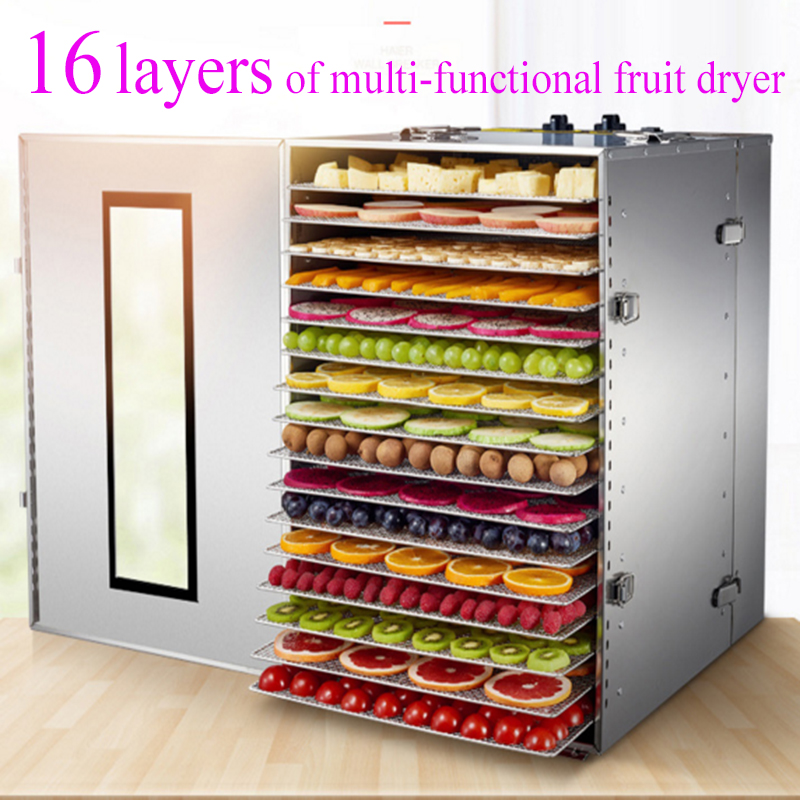 Food Dehydrator Vegetable Fruit Dryer 16-layers Stainless Steel Commercial Food Drying Machine Pet Food Mushroom