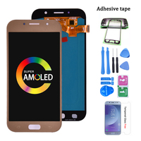 Super amoled para samsung galaxy a7 2017 a720 a720f display lcd de tela toque digitador assembléia lcd para galaxy a7 2017 duos