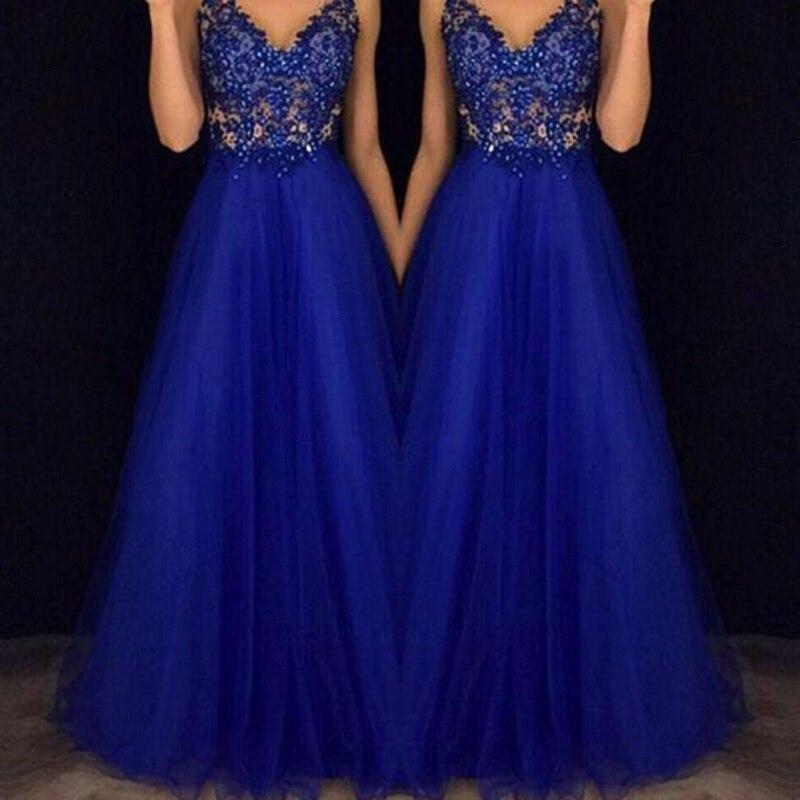 Summer Long Formal Lace Party Dress Women Elegant V-neck Sequined Bridesmaid Prom Long Blue Dresses  Floor-length Dress